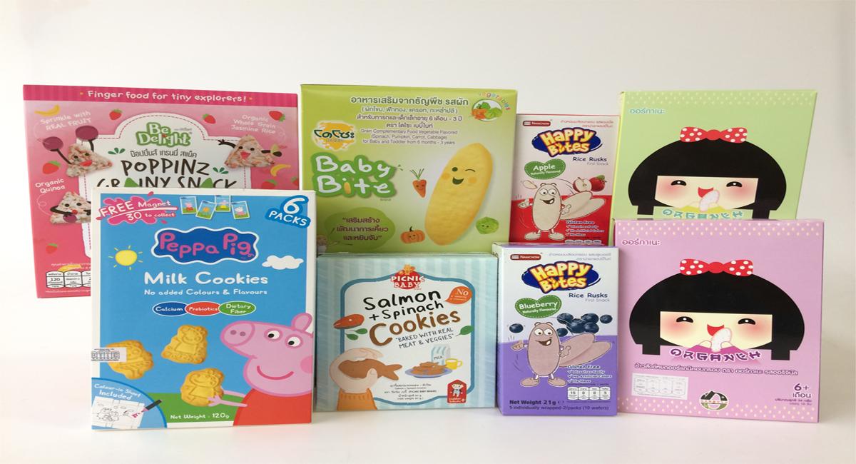 ขนม, snack, ขนมสำหรับเด็กเล็ก, ขนมเด็กวัย 6 เดือนขึ้นไป, ขนมเด็กวัย 1 ปีขึ้นไป, ขนมเด็กวัย 6 ปีขึ้นไป, รสนม, รสผัก, รสผลไม้, รสเเซลมอน, ฝึกทานเอง, peppa pig, โดโซะ, ออร์กาเนะ, happy bites, be delight