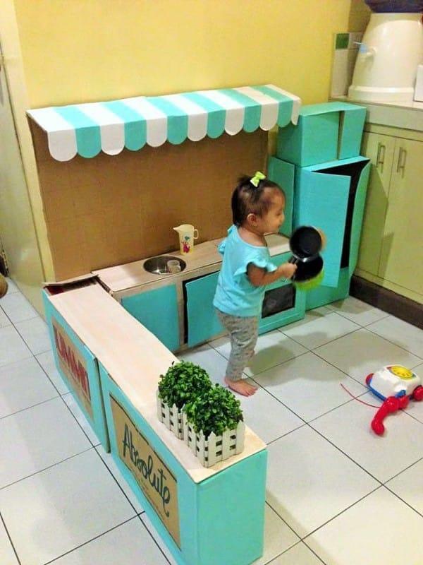 DIY,ชุดครัว,ชุดครัว,ลังกระดาษ,ลังกระดาษชุดครัว, Kitchen Station,Play Station,Toddler,ลูกวัยคิดส์,ของเล่น,ของเล่นของลูก,