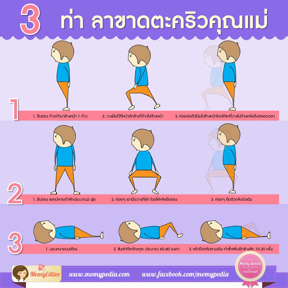 ตะคริว,ออกกำลังกาย,บริหารร่างกาย,3 ท่า ลาขาดตะคริวคุณแม่,ตะคริวแม่ท้อง,ตะคริวคุณแม่,ออกกำลัง,ลดตะคริว,