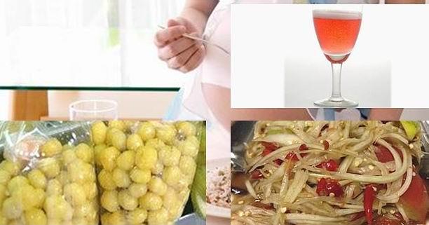 อาหารต้องห้ามระหว่างตั้งครรภ์, อาหารอันตรายช่วงตั้งครรภ์, เหล้า, ไวน์, แอลกอฮอล์, น้ำอัดลม, น้ำอัดลมไดเอต, หอย, อาหารทะเล, ผลไม้ดอง, แม่ตั้งครรภ์, แม่ท้อง, ส้มตำ, ส้มตำปูปลาร้า, ชา, กาแฟ, คาเฟอีน, อาหารแม่ท้อง, แพ้ท้อง, ซาซิมิ