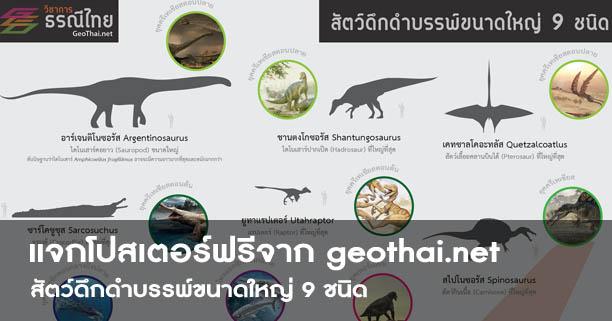 โปสเตอร์,สื่อการเรียนรู้,สัตว์ดึกดำบรรพ์ขนาดใหญ่ 9 ชนิด,Geothai,ไดโนเสาร์,dinosaur